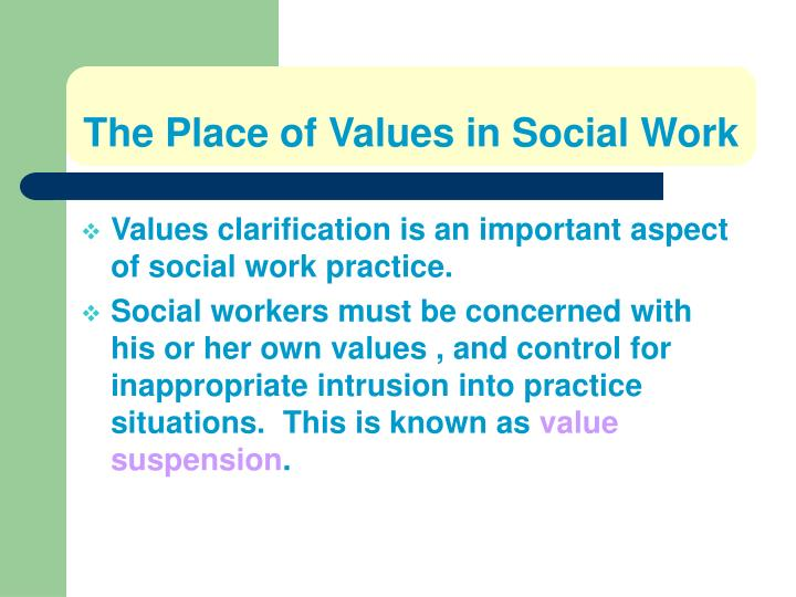 The Place of Values in Social Work