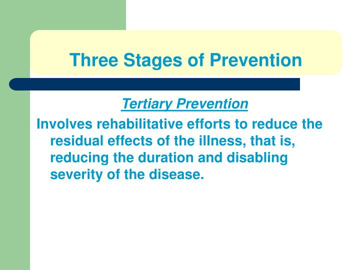 Three Stages of Prevention