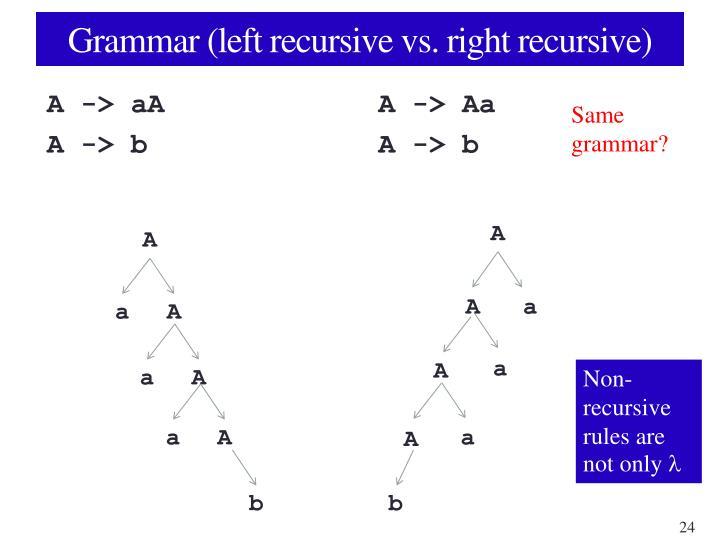 Grammar (left recursive vs. right recursive)