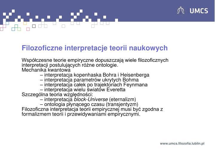 Filozoficzne interpretacje teorii naukowych