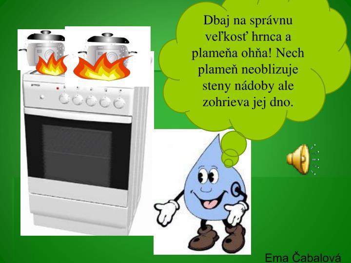 Dbaj na správnu veľkosť hrnca a plameňa ohňa! Nech plameň neoblizuje steny nádoby ale zohrieva jej dno.