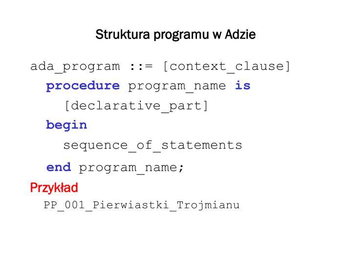 Struktura programu w Adzie