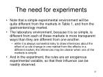 the need for experiments1