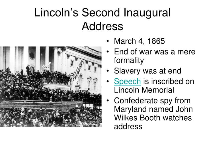 abraham lincolns second inaugural address Lincoln reads the second inaugural address library of congress abraham lincoln's second inauguration saturday, march 4.