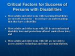 critical factors for success of persons with disabilities1