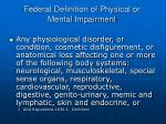 federal definition of physical or mental impairment