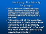 identifying ld in minority languages