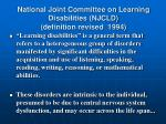 national joint committee on learning disabilities njcld definition revised 1994