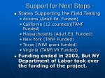 support for next steps