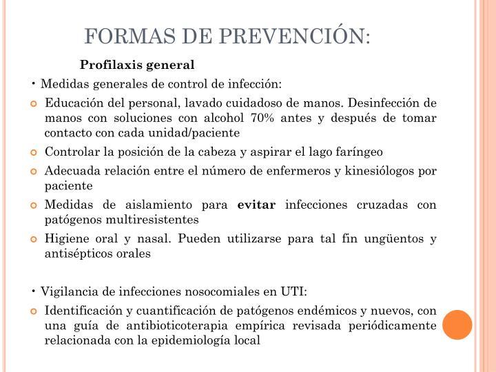 FORMAS DE PREVENCIÓN: