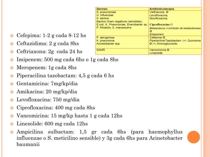 Cefepima: 1-2 g cada 8-12 hs