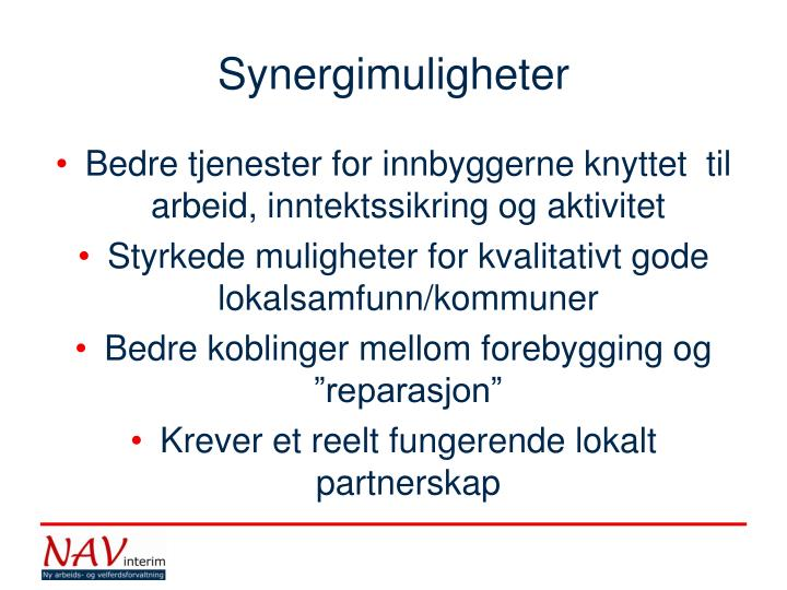 Synergimuligheter