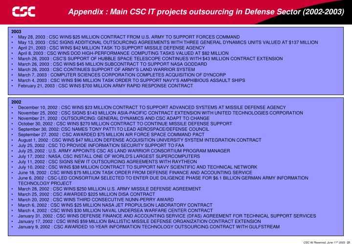 Appendix : Main CSC IT projects outsourcing in Defense Sector (2002-2003)