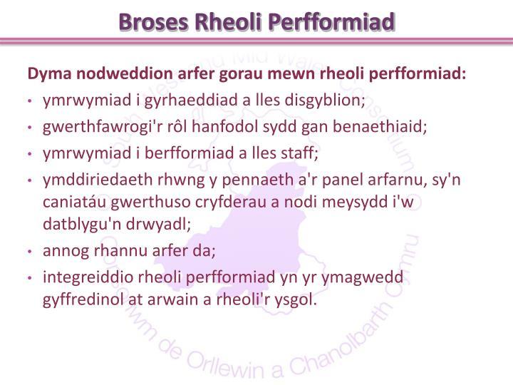 Broses Rheoli Perfformiad