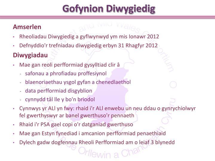Gofynion Diwygiedig