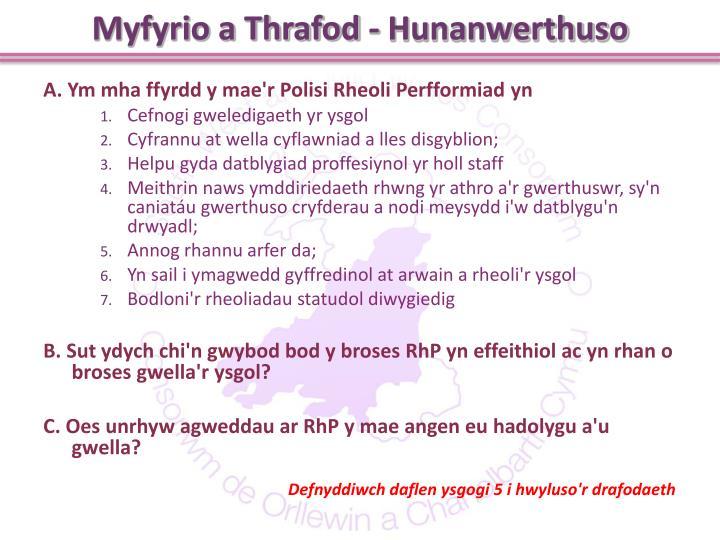Myfyrio a Thrafod - Hunanwerthuso