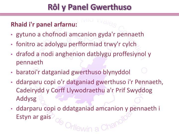 Rôl y Panel Gwerthuso