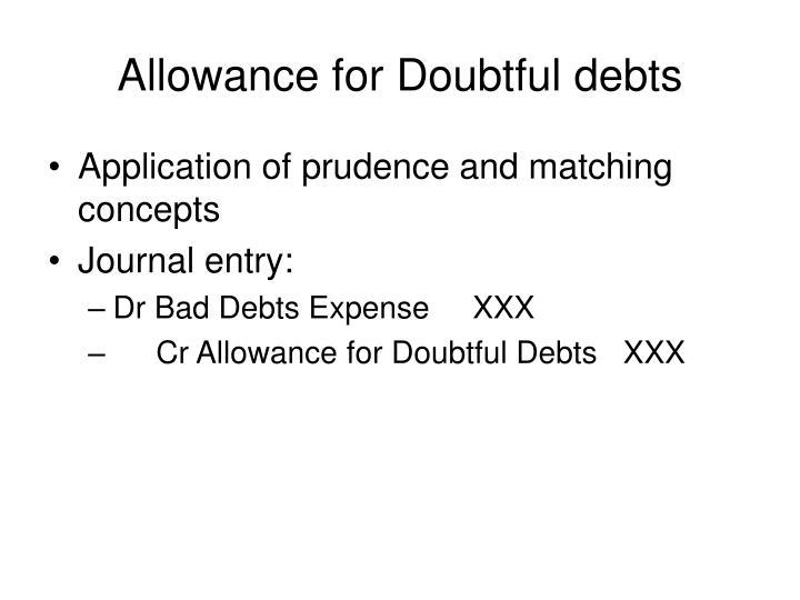 Allowance for Doubtful debts