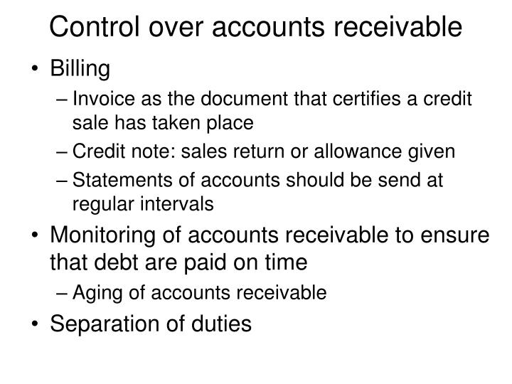 monitoring individual accounts receivable accounting essay Sample accounting essay  the industrial equipment distribution accounting essay  ensures accounts receivable over 60 days are promptly pursued for collection.