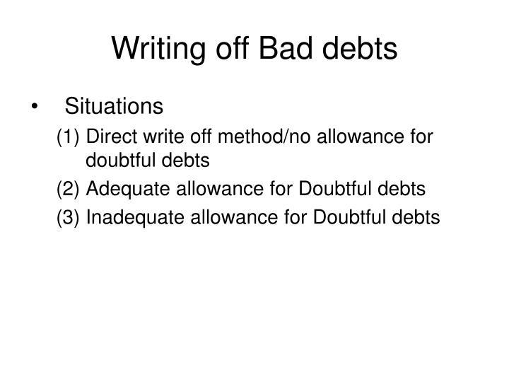 Writing off Bad debts