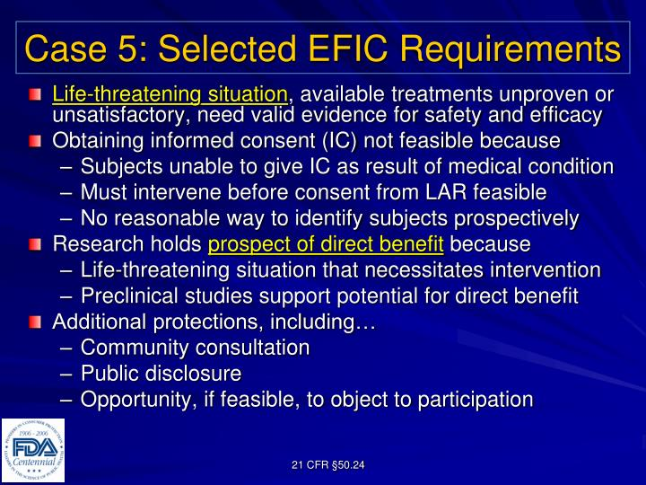 Case 5: Selected EFIC Requirements