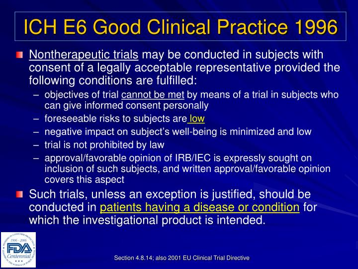 ICH E6 Good Clinical Practice 1996
