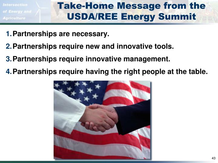 Take-Home Message from the USDA/REE Energy Summit