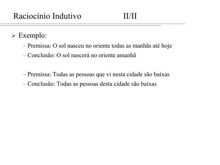 Raciocínio IndutivoII/II