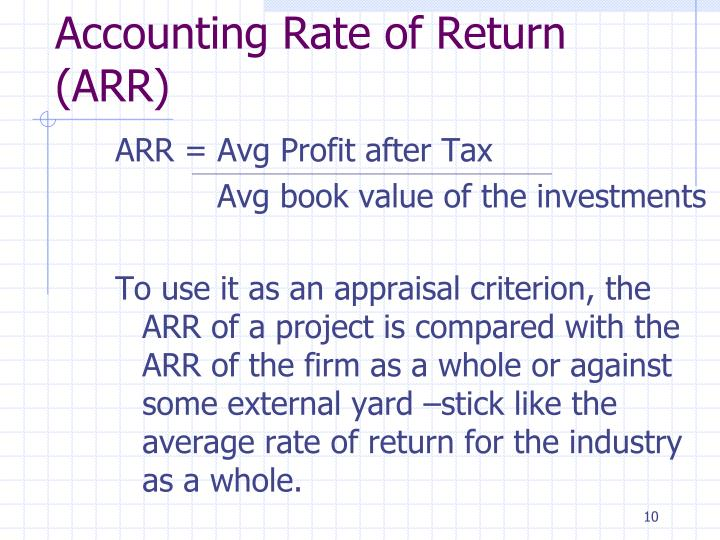 ARR = Avg Profit after Tax