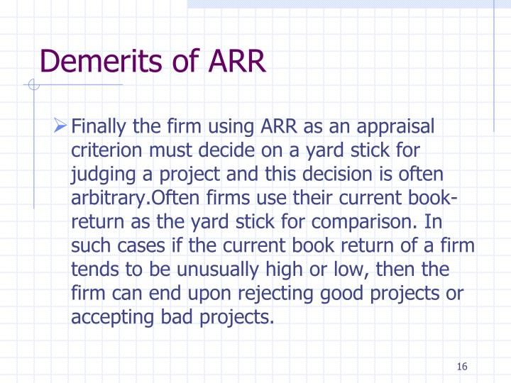 Demerits of ARR