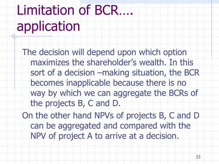 Limitation of BCR…. application