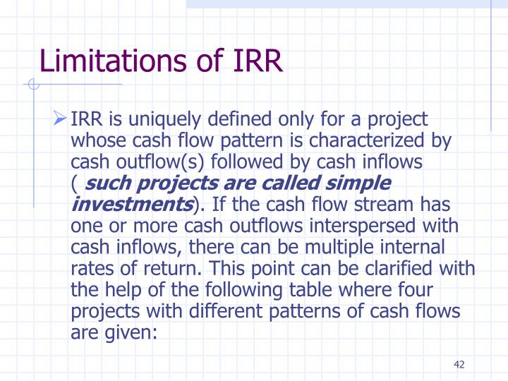 Limitations of IRR