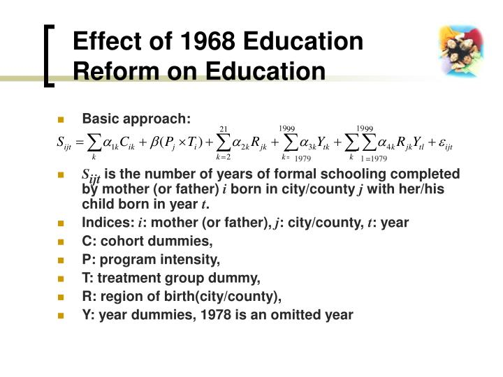 Effect of 1968 Education Reform on Education
