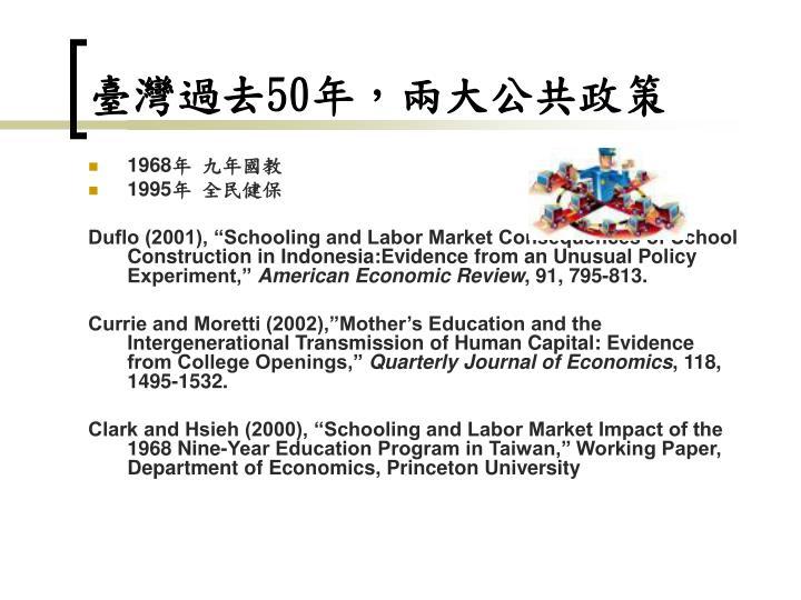 臺灣過去50年,兩大公共政策