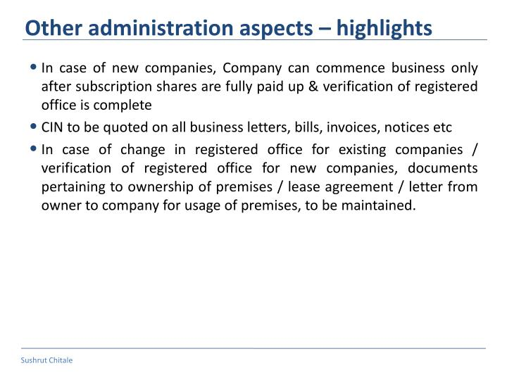 Other administration aspects – highlights