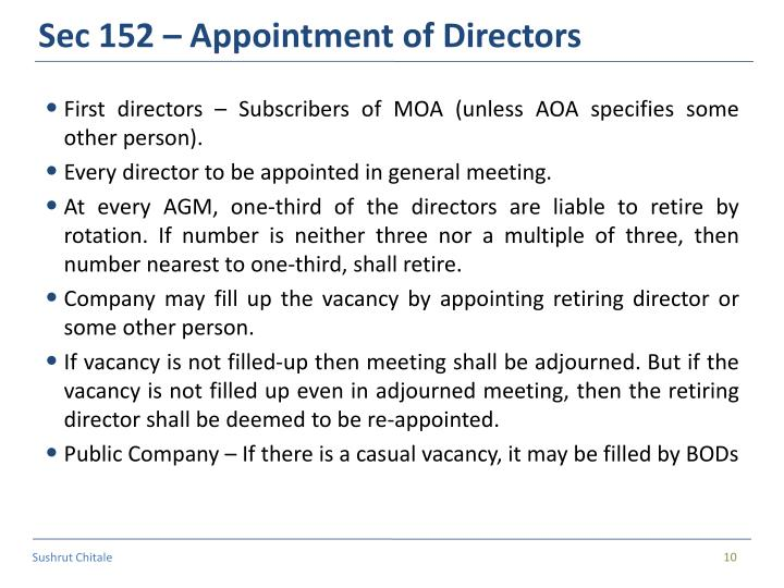 Sec 152 – Appointment of Directors