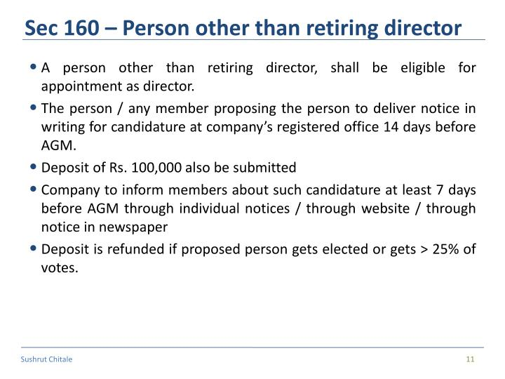 Sec 160 – Person other than retiring director