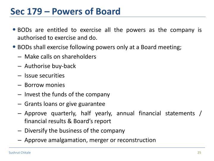 Sec 179 – Powers of Board