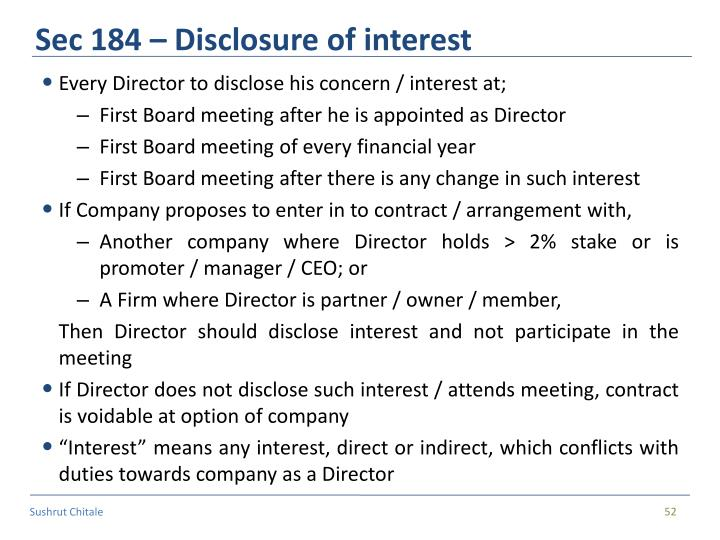 Sec 184 – Disclosure of interest