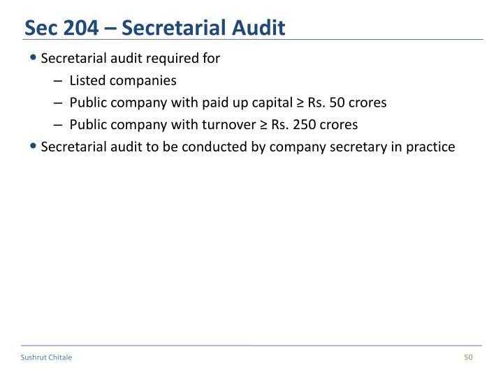Sec 204 – Secretarial Audit