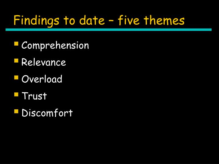 Findings to date – five themes