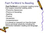 fast forword to reading
