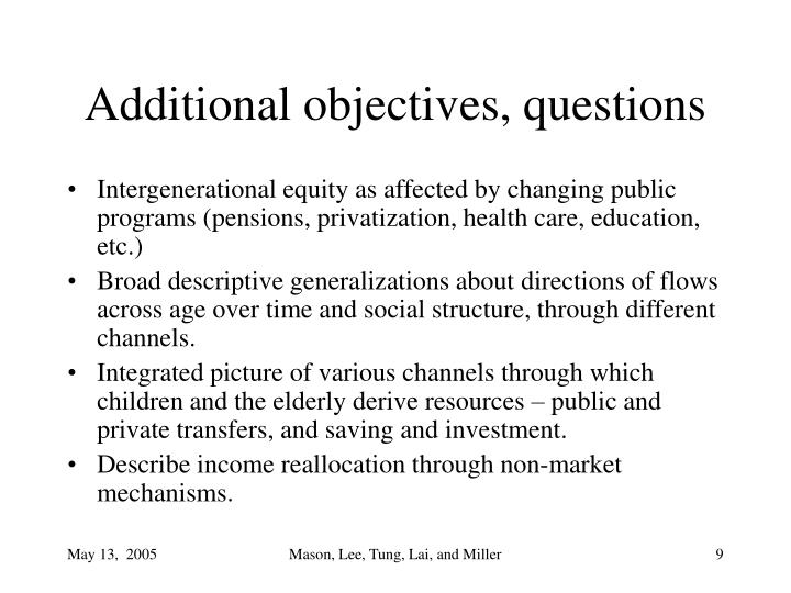 Additional objectives, questions