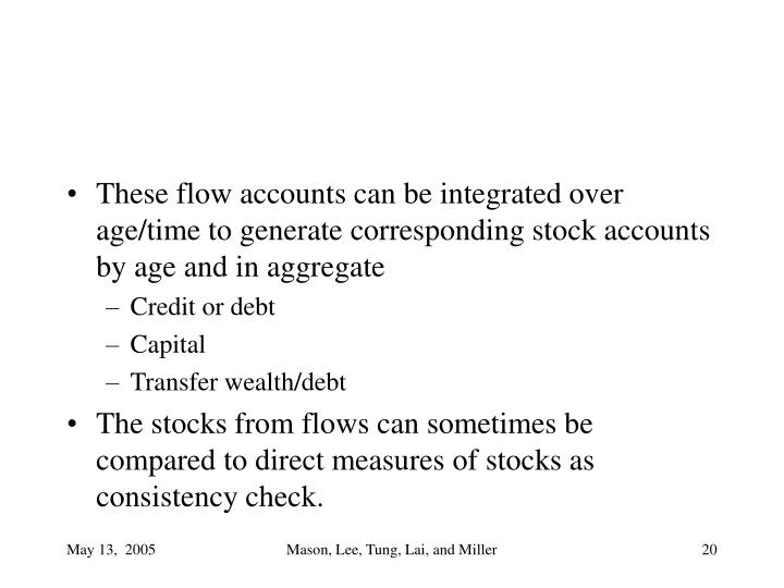 These flow accounts can be integrated over age/time to generate corresponding stock accounts by age and in aggregate