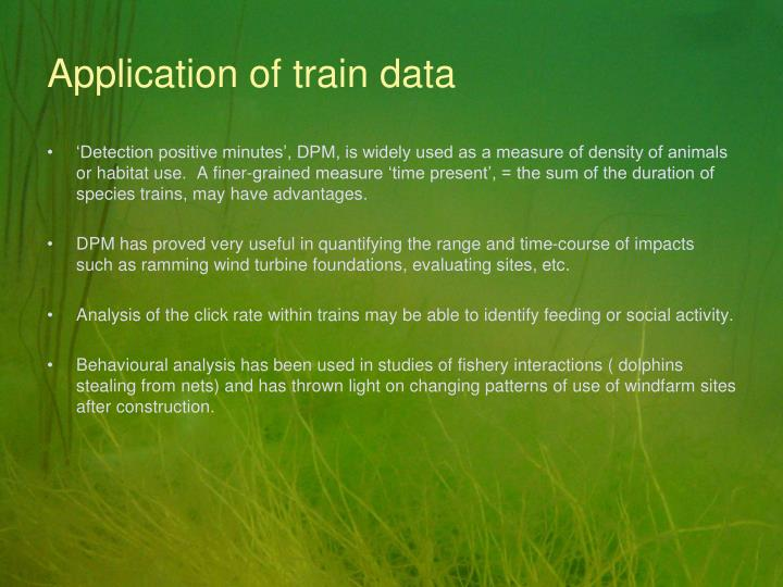 Application of train data