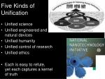 five kinds of unification