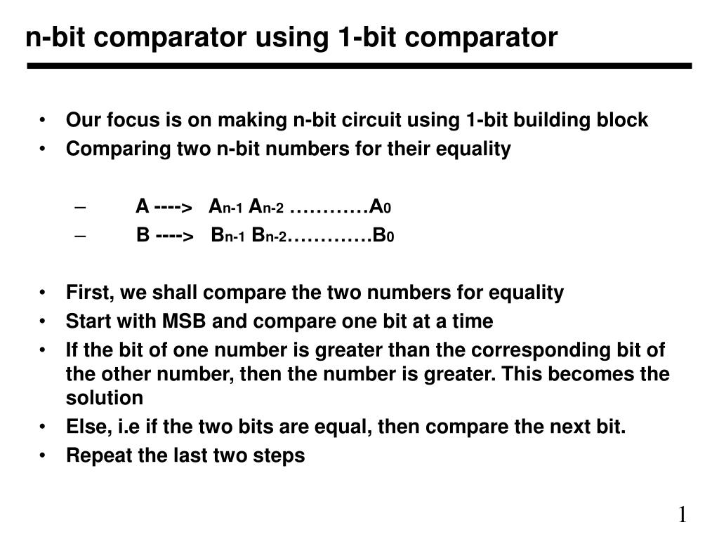 Ppt N Bit Comparator Using 1 Powerpoint 2 Magnitude Logic Diagram