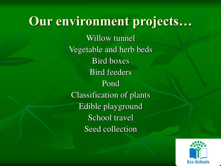 Our environment projects…