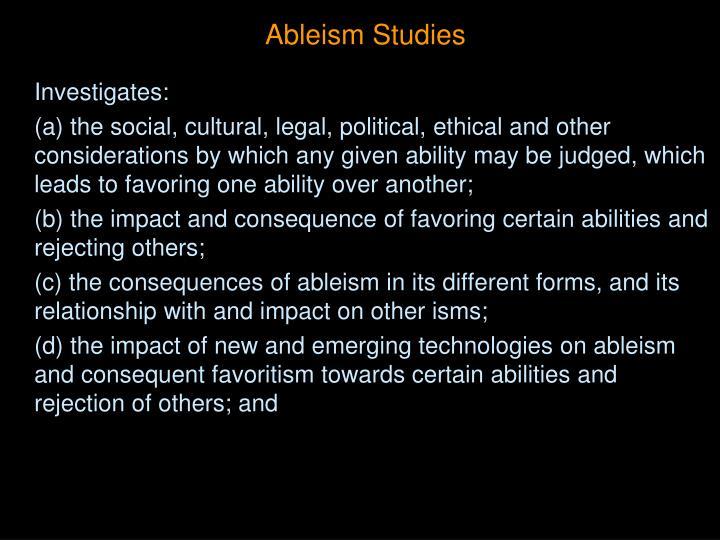 Ableism Studies