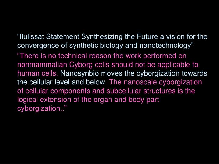 """""""Ilulissat Statement Synthesizing the Future a vision for the convergence of synthetic biology and nanotechnology"""""""